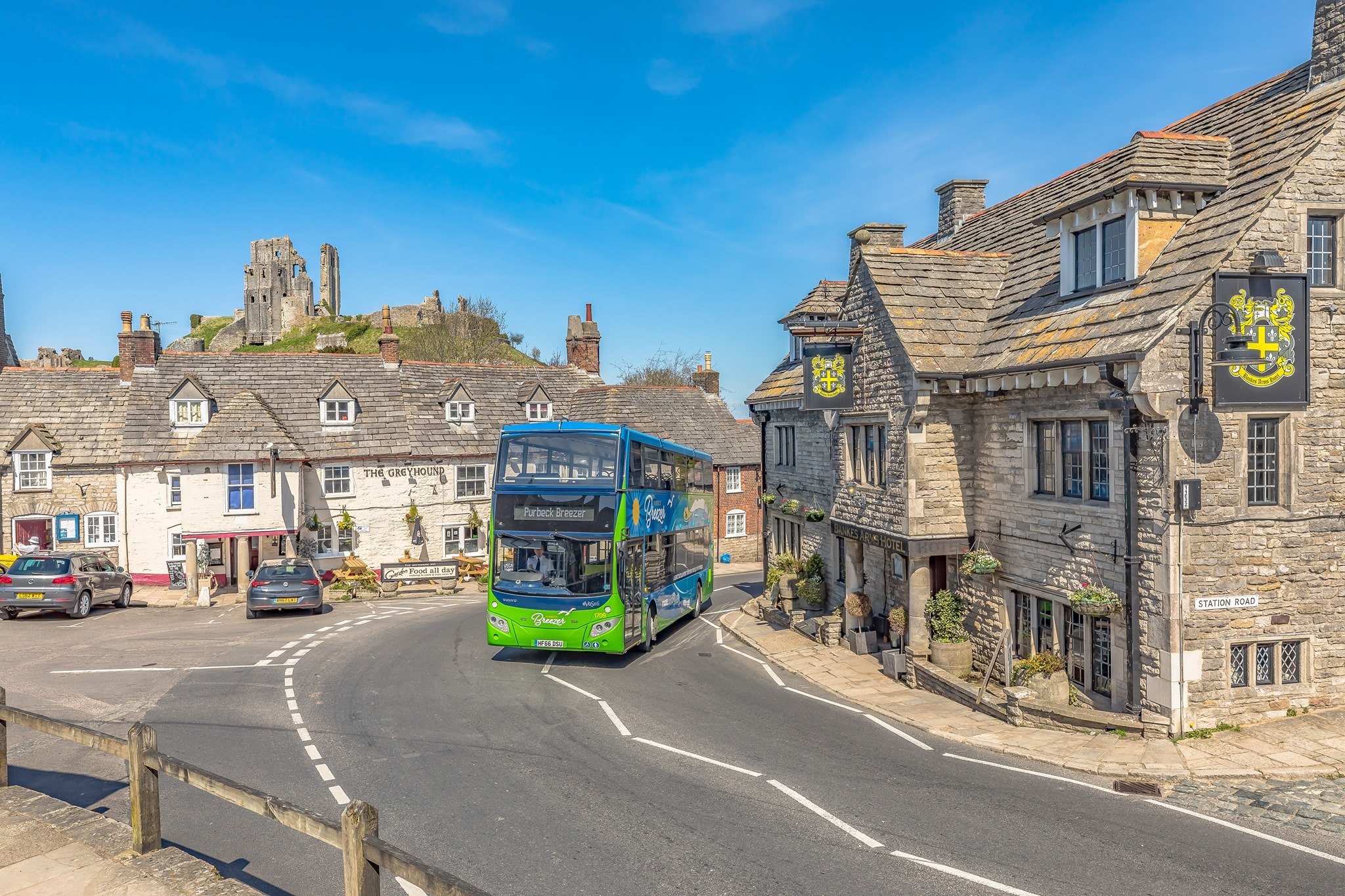 Photo of a Purbeck Breezer bus at Corfe Castle