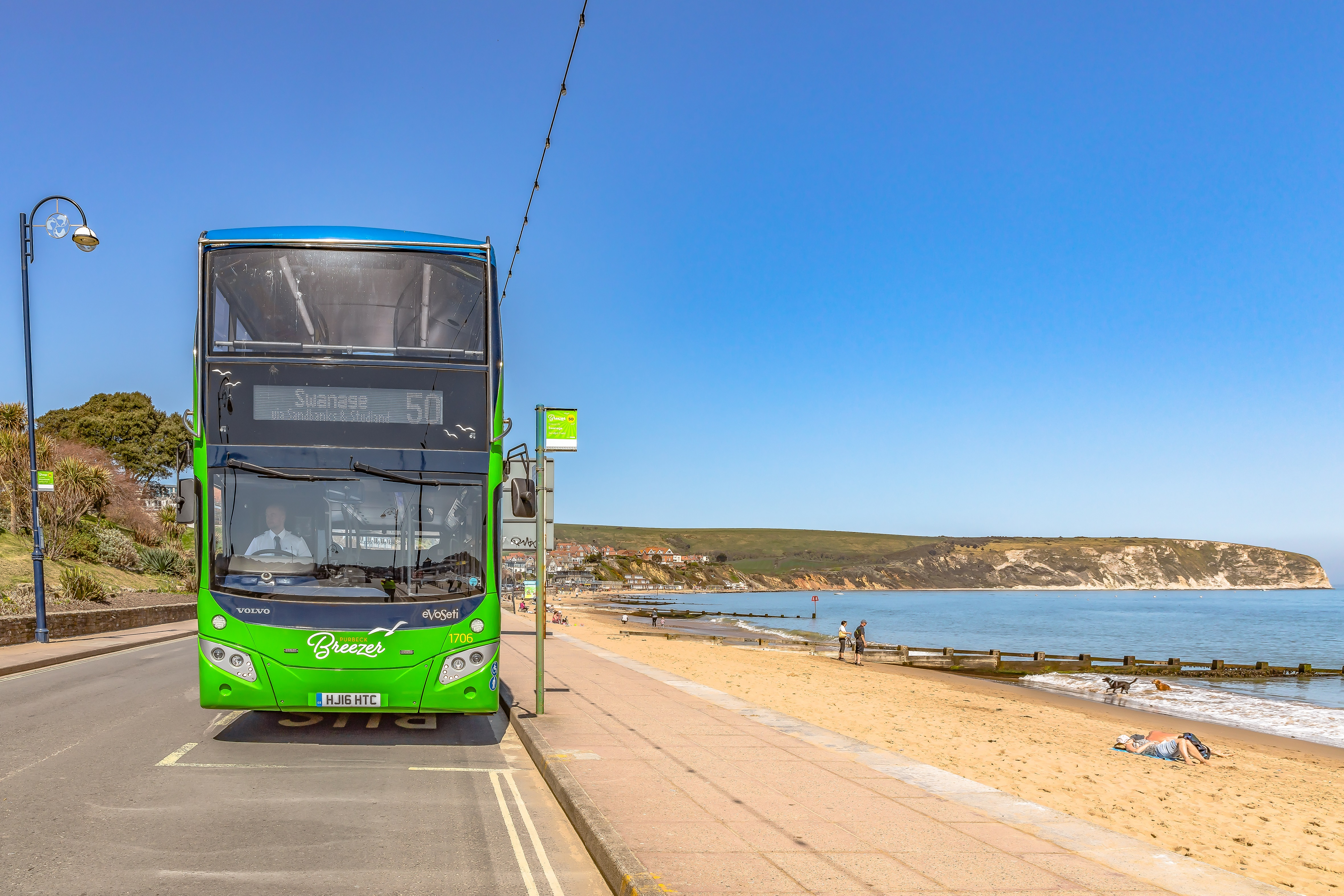 Photo of a Purbeck Breezer 50 service bus parked at Swanage