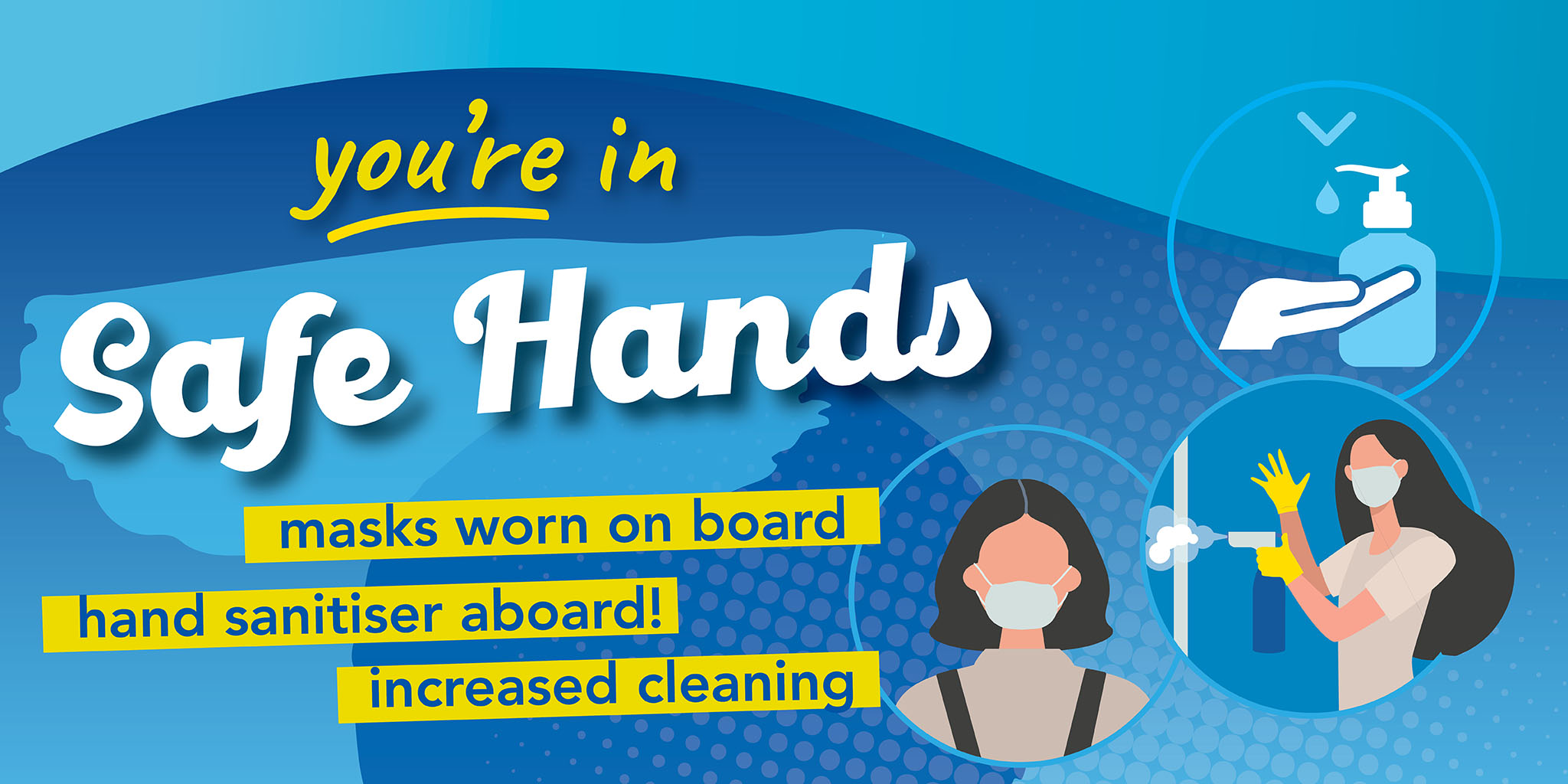 Image reading 'you're in safe hands' with an image of hand sanitiser, a person wearing a face covering and someone cleaning. Text reading 'Maks worn on board. Hand sanitiser aboard! Increased cleaning.'