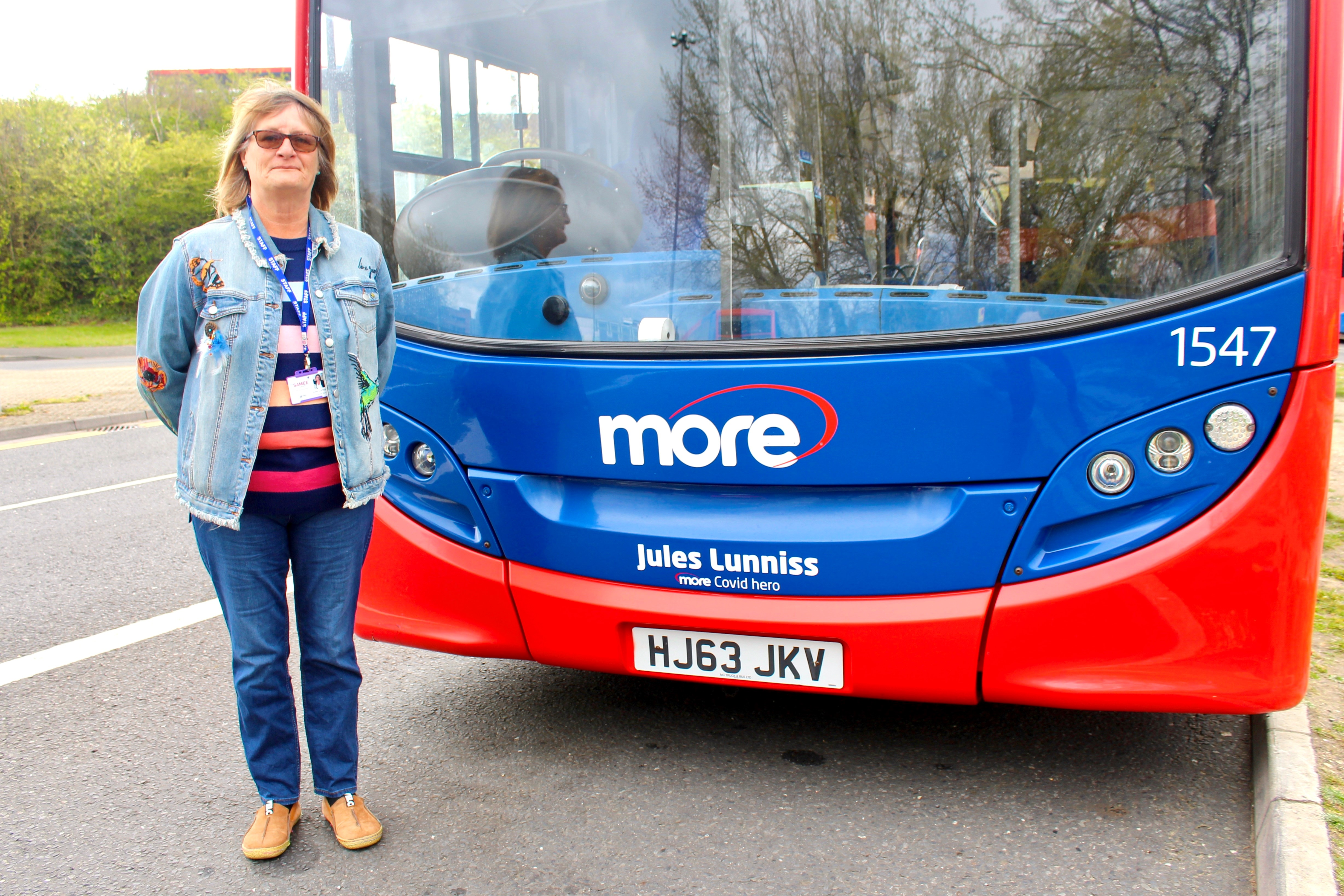 Image of Jules with the bus in her name