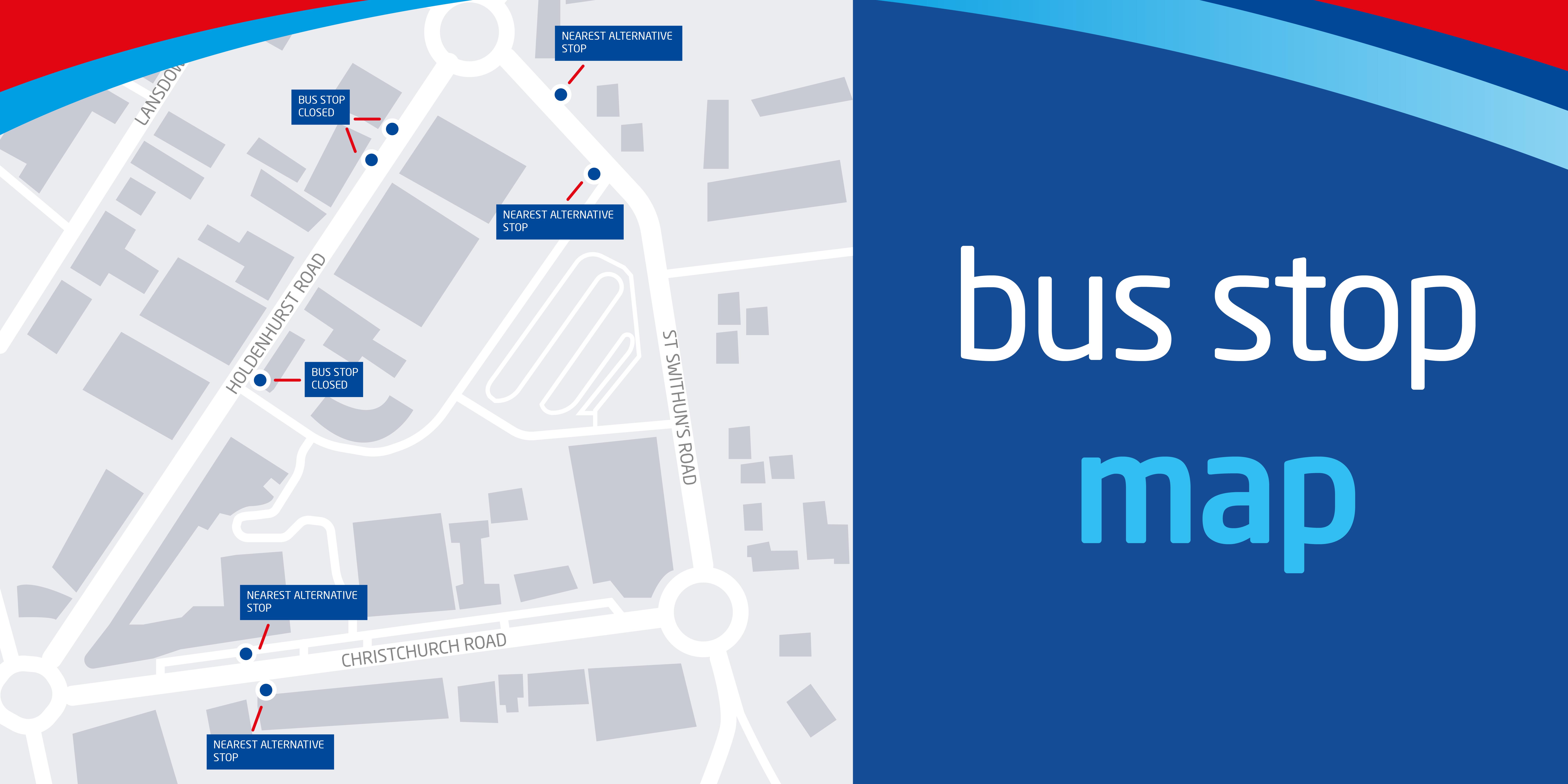bus stop map for holdenhurst road