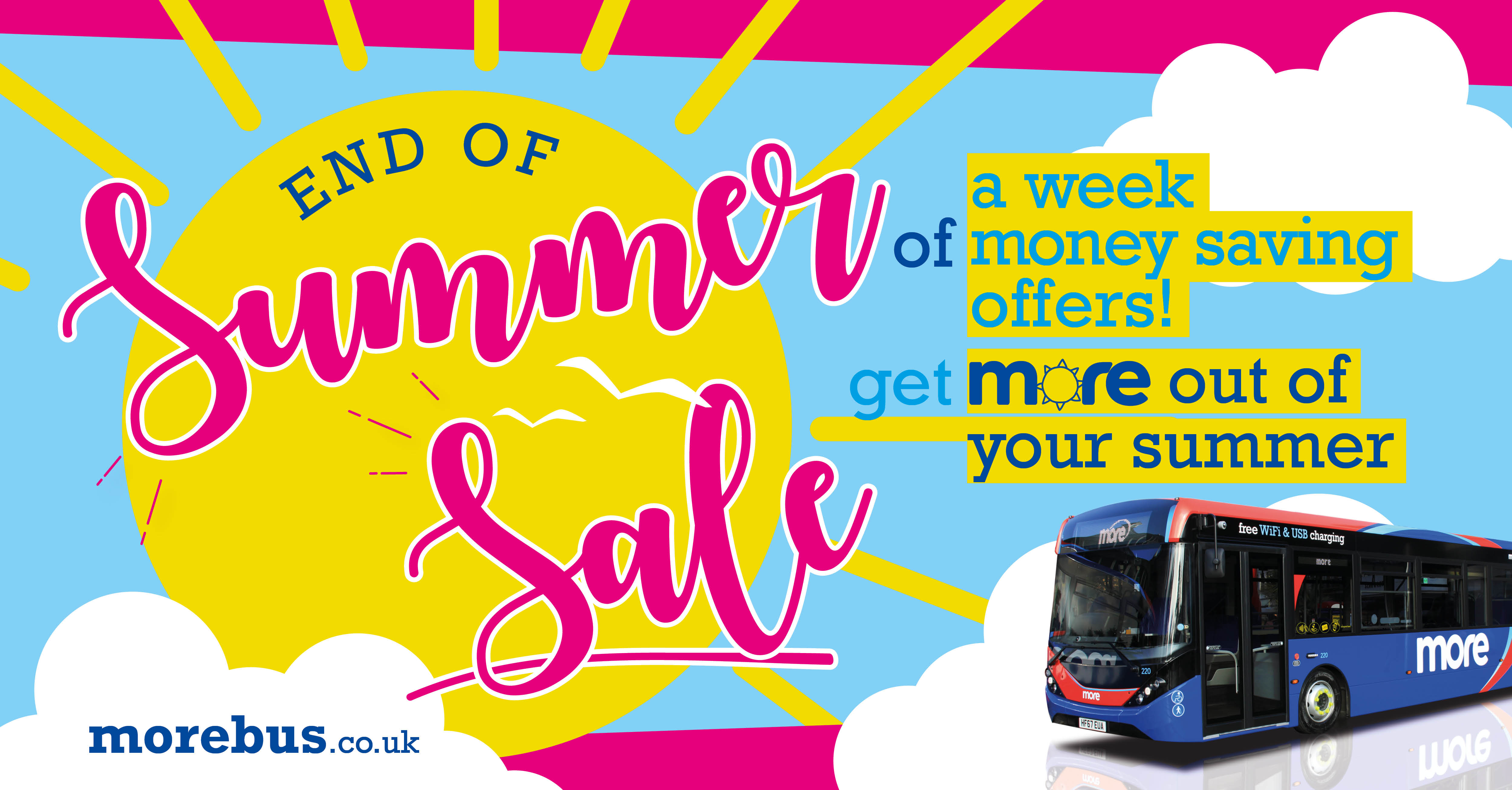 Image of Sun and bus with summer sale in text