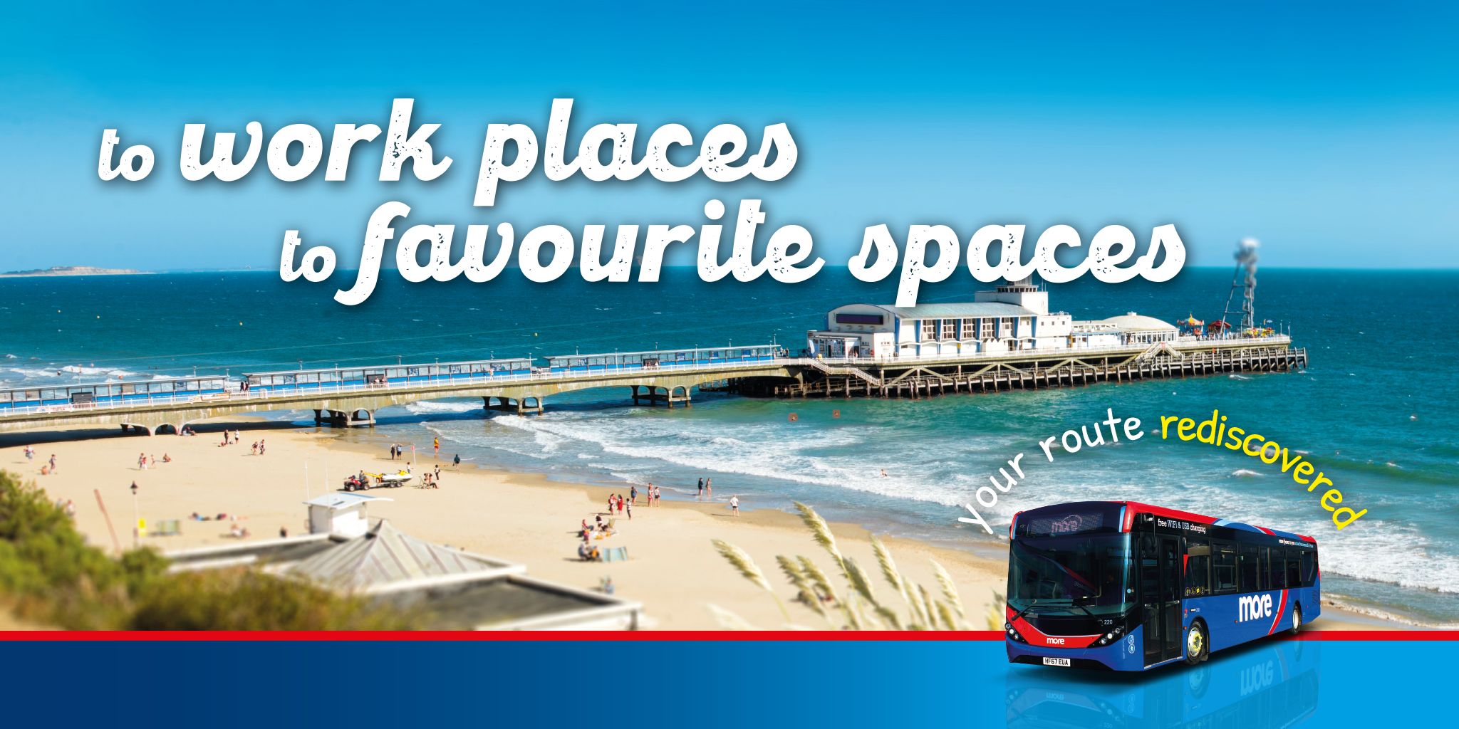 Photo of Bournemouth Pier & Beach with the text 'to work places, to favourite spaces. Your route rediscovered'