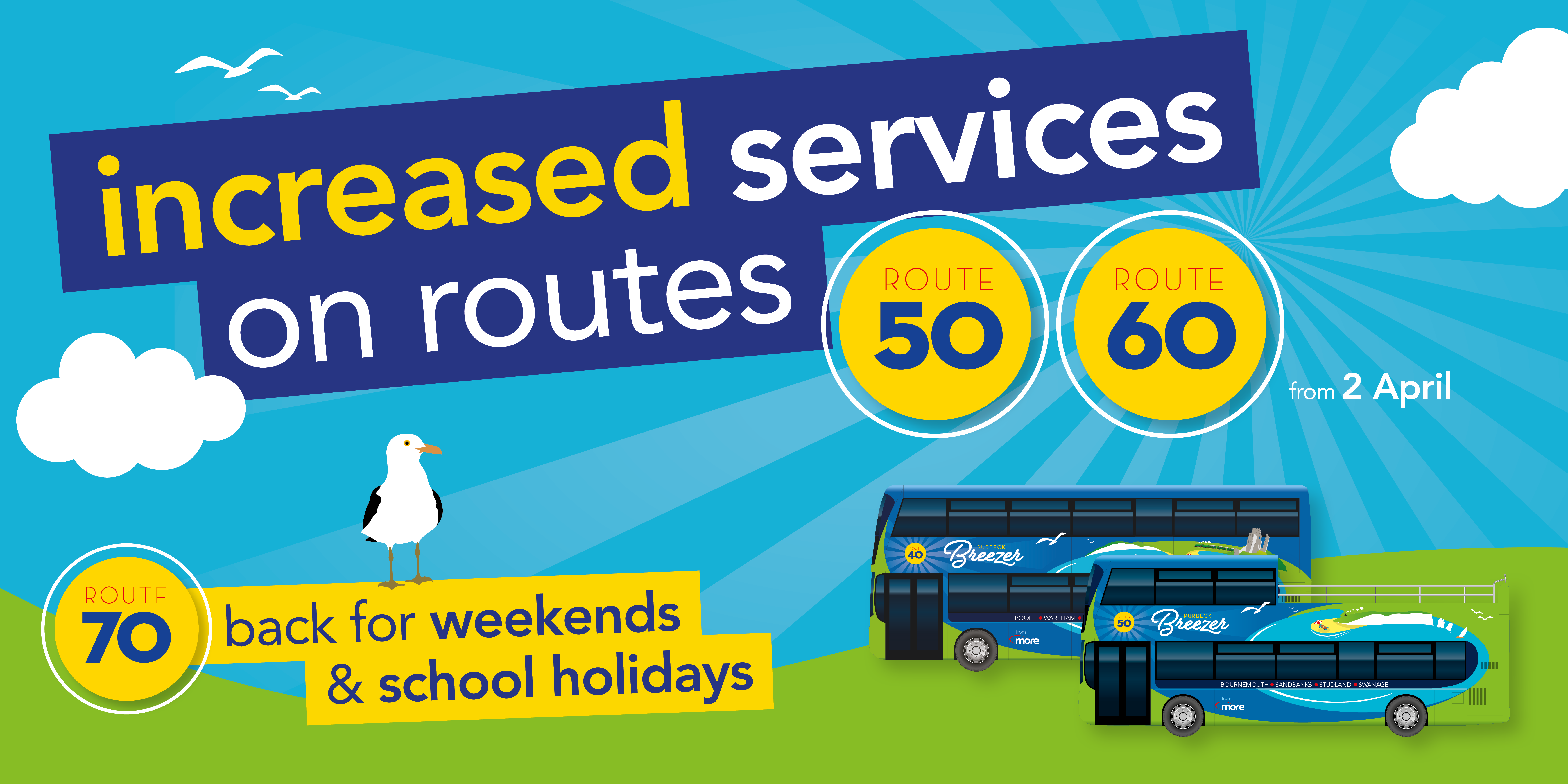 Image of two Purbeck Breezer buses with text 'increased services on route 50 and 60 from 2nd April. Route 70 back for weekends and school holidays.'