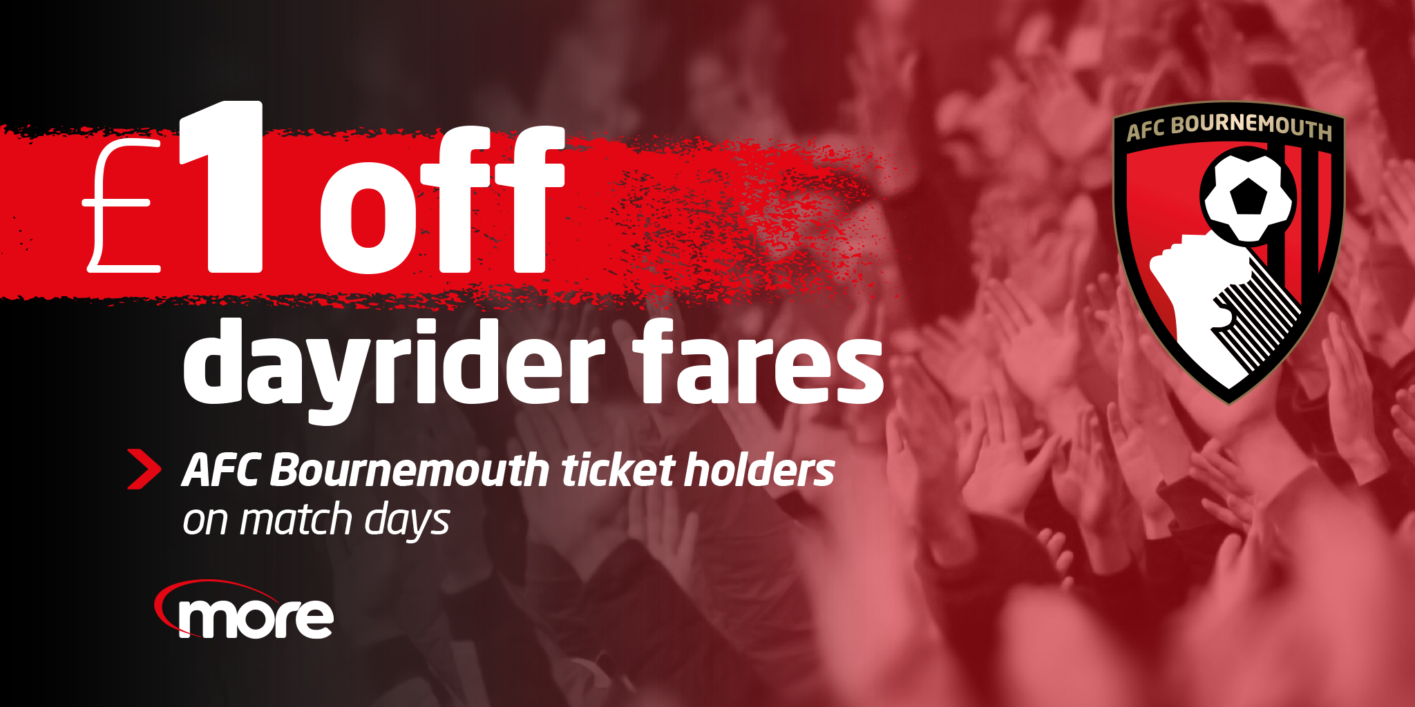 £1 off dayrider fare for AFC bournemouth ticket holders on match days