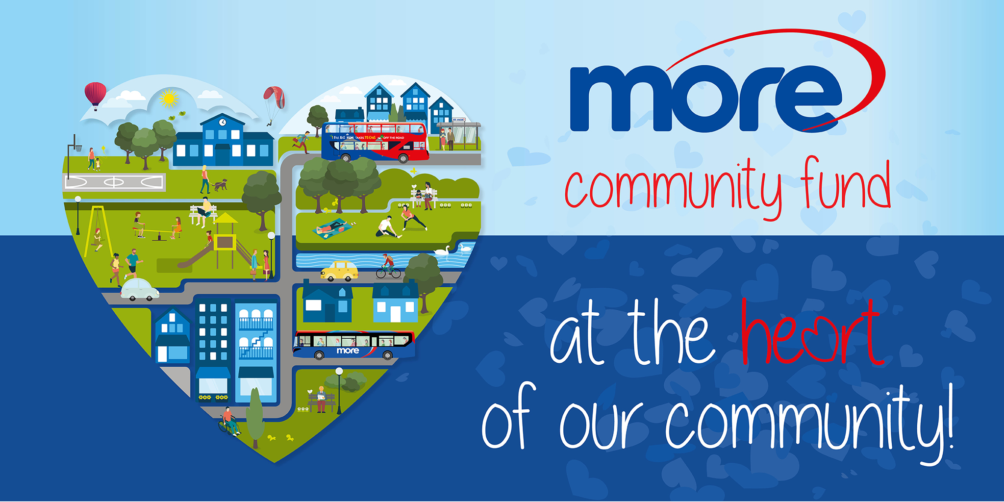 morebus community fund image with text 'at the heart of our community!'