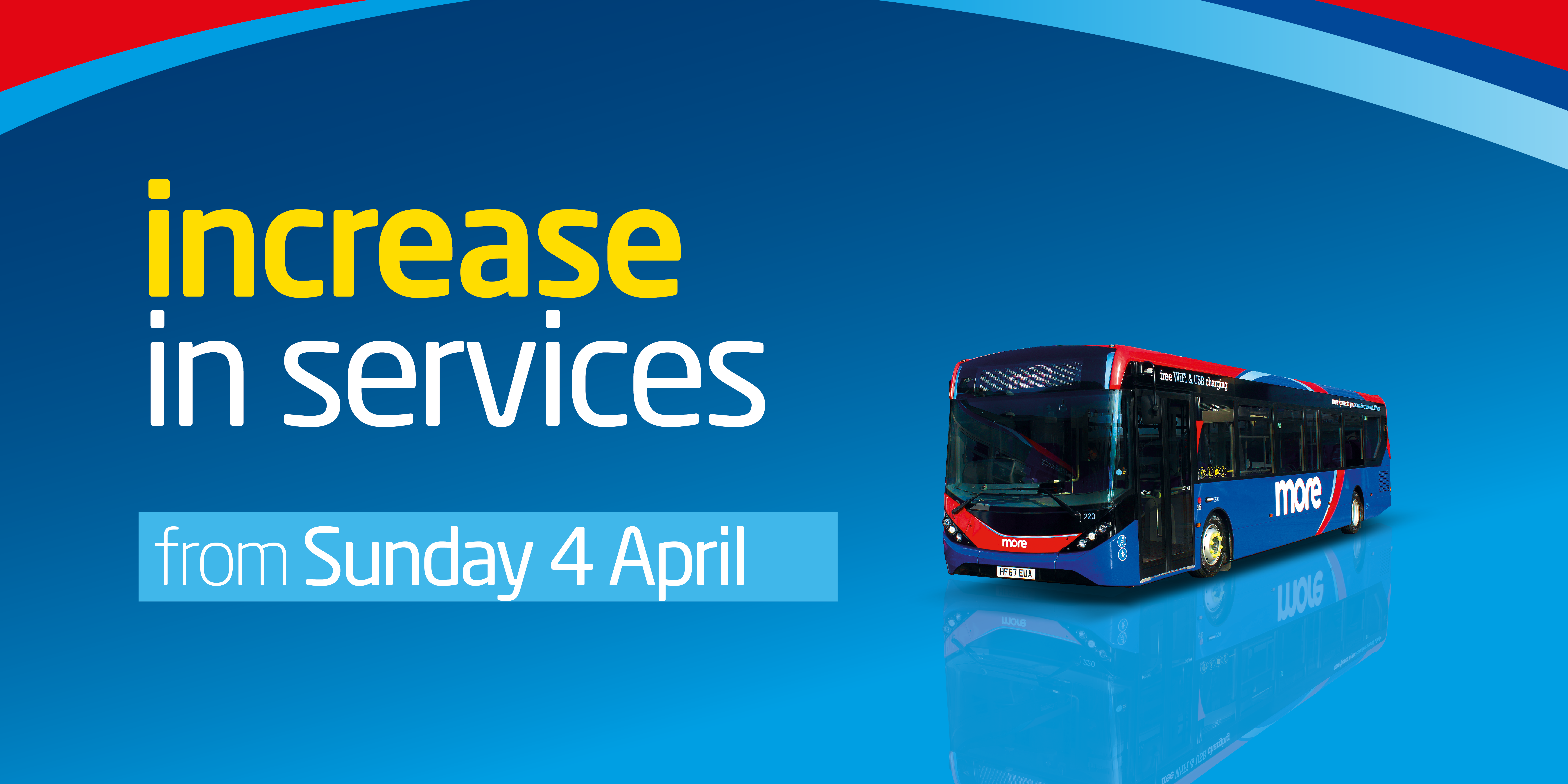 Image with a bus and text reading 'increase in services from Sunday 4th April'