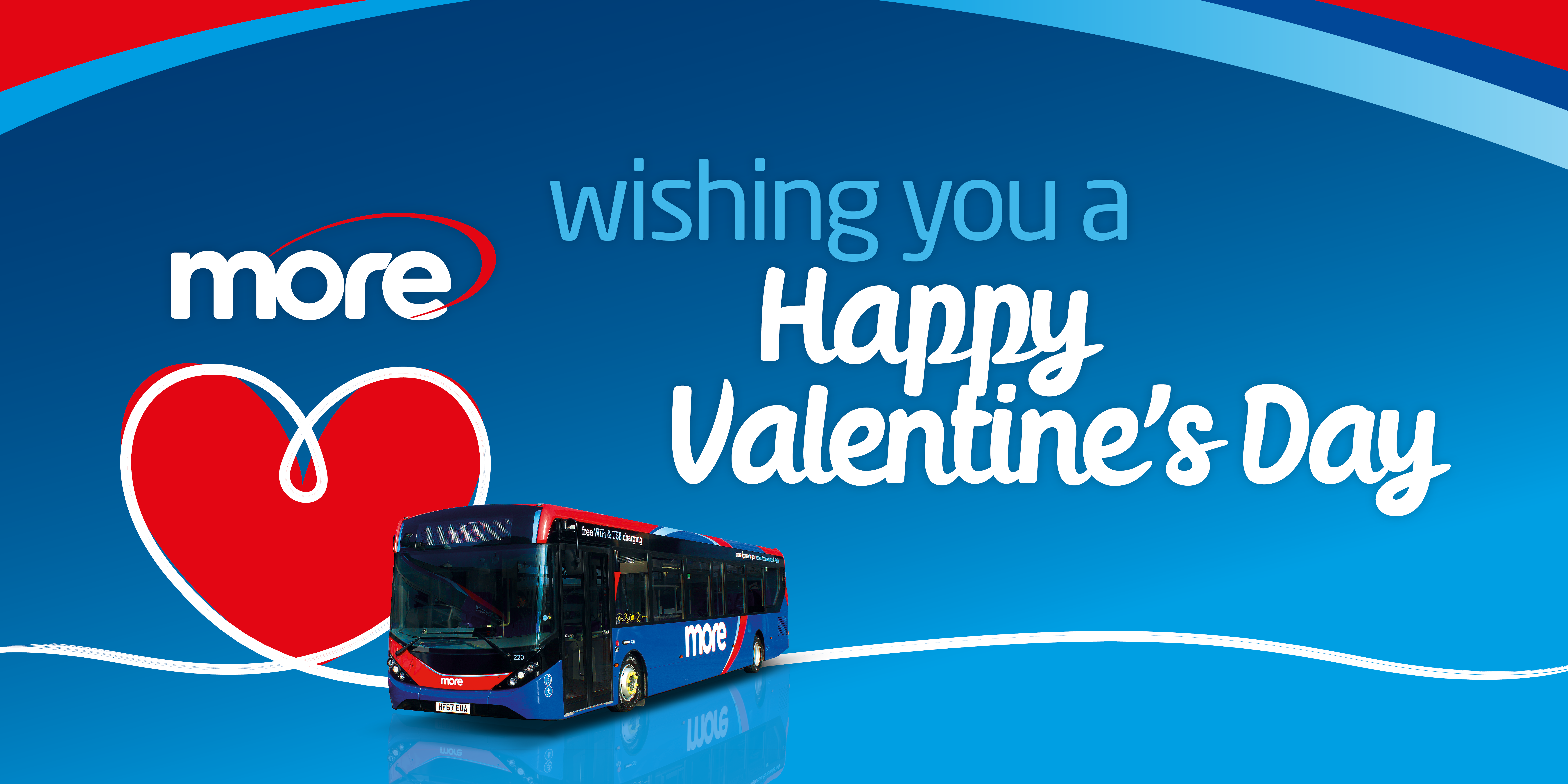 Image of a morebus with text reading 'wishing you a happy valentine's day'